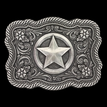 Classic Impressions Twisted Rope and Pinpoints Scalloped Attitude Buckle with Texas Star (A615S)