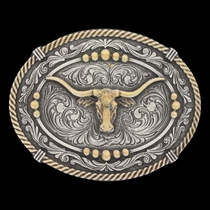Classic Impressions Two Tone Beaded Cameo Attitude Buckle with Longhorn Steer (A620)