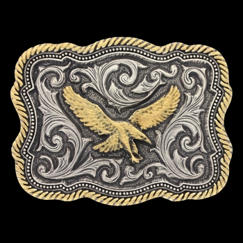 Classic Impressions Two Tone Twisted Rope and Pinpoints Attitude Buckle with Soaring Eagle (A613)