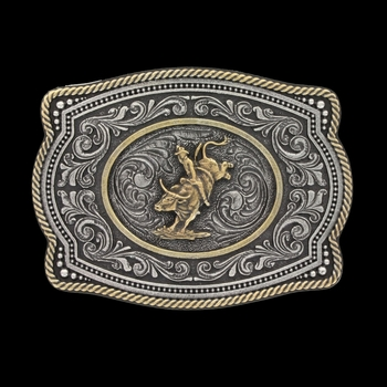 Classic Impressions Two Tone Twisted Rope and Pinpoints Cameo Attitude Buckle with Bull Rider (A599)