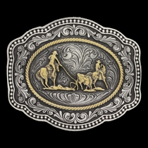 Classic Impressions Two Tone Twisted Rope Cameo Attitude Buckle with Team Roper (A624)