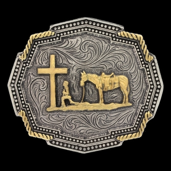 Classic Impressions Two Tone Twisted Rope Corners Christian Cowboy Attitude Buckle (A611)