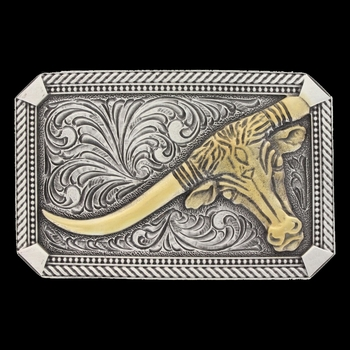 Classic Impressions Two Tone Twisted Rope & Pinpoints Attitude Buckle with Leaning Steer (A622)