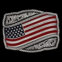 Classic Painted Waving American Flag Attitude Buckle (A590P)