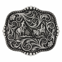Classic Scalloped Bead and Berries Trim Attitude Buckle with Team Roping (A392S)
