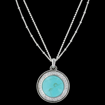 Classic Turquoise Medallion Necklace (NC3266)
