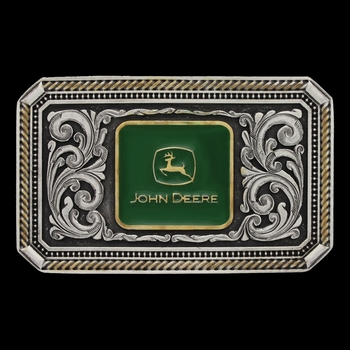 Classic Two Tone John Deere Rope and Pinpoint Cameo Attitude Buckle (A557JD)