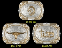 Classic Western Silver and Gold Bright Cut Buckle