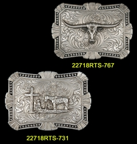 Classic Western Silver Black Berry Edge Buckle