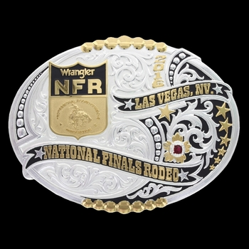 2016 WNFR Two Tone Stars and Beads Buckle (NFR516)