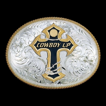 Cowboy Up on Barbed Wire Cross Western Belt Buckle (2165-101015)