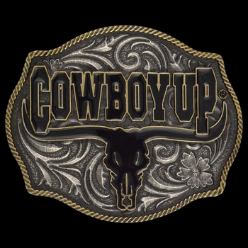 Cowboy Up Says the Bull Two-Tone Attitude Buckle (A354)