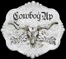 Cowboy Up Steer Buckle by Montana Silversmiths