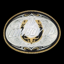 Cowboy Up Tribal Scroll Western Belt Buckle (61366)
