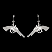 Cowgirl Pistols Rhinestone Handle Drop Earrings (ER61242)
