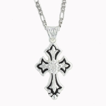 Flower on Silver and Black Cross Fluery (NC1218)
