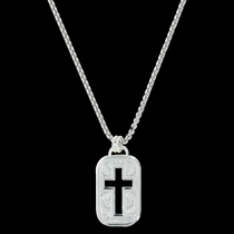 Cross Cut Out Token Necklace (NC2843)