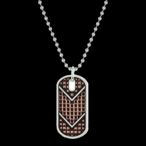 CrossCut Mesh & Bead Token Necklace (NC2613SC-BK)