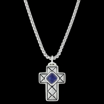 Crosscut Pillowed Blue Cross Necklace (NC3360BL)
