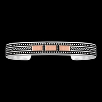CrossCut Threaded Ribbon Cuff Bracelet (BC2630SC-BK)