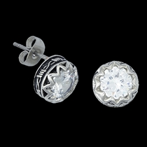Crystal Barbed Wire Stud Earrings (ER1307CZ)