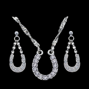 Crystal Clear Lucky Horseshoe Jewelry Set (JS808)