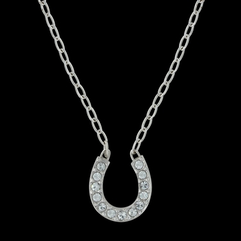 Crystal Clear Lucky Horseshoe Necklace (NC62)