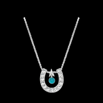 Crystal Horseshoe with Turquoise Necklace (NC61523TQ)