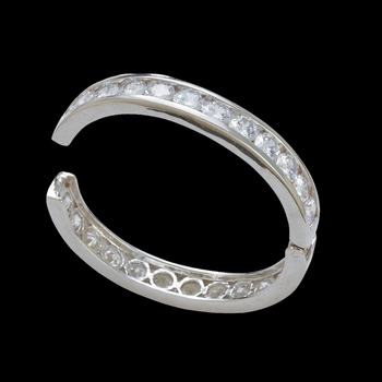 Crystal Shine Silver Bangle Bracelet (BC1261)