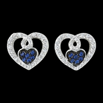 Curlicued Cerulean Heart Earrings (ER3029)
