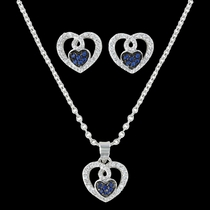 Curlicued Cerulean Heart Jewelry Set (JS3029)