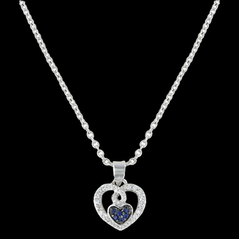 Curlicued Cerulean Heart Necklace (NC3029)