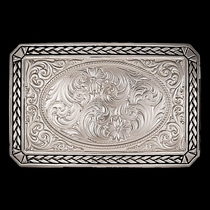 Custom Antiqued Wheat Trim Portrait Buckle with Any Figure (27200D)