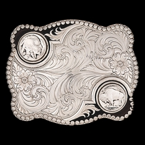 Custom Buffalo Nickel Flourish Buckle with Any Figure  (3610)