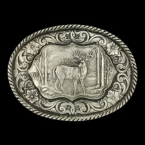 Deer Scene Classic Antiqued Attitude Belt Buckle (61003)