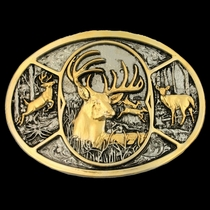 Deer Two Tone Attitude Belt Buckle (60796P)
