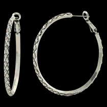 Diamond Cuts Hoop Earrings Attitude Jewelry (AER3346)