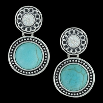 Double Button Drop Earrings Attitude Jewelry (AER3473)
