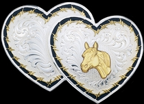 Double Heart Belt Buckle by Montana Silversmiths