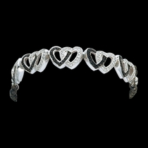 Crystal and Black Double Heart Link Bracelet (BC61505BK)