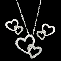 Double Heart with Crystal Jewelry Set (JS61120)