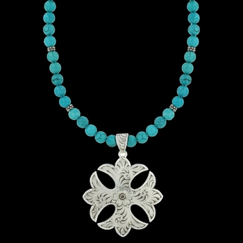 Earth and Sky Cross Fluerry Necklace (NC2888)