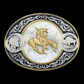 End of the Trail Buffalo Indian Head Nickel Western Belt Buckle (4050-595-BK)