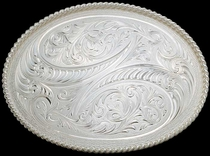 Engraved Belt Buckle by Montana Silversmiths
