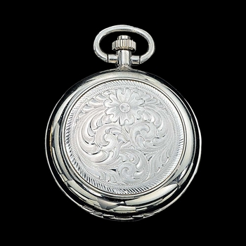 Engraved Silver Small Silver Inlay Pocket Watch (WATCHP10)