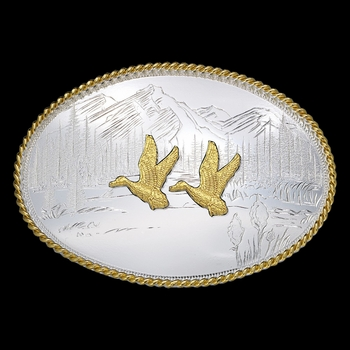 Etched Mountains Western Belt Buckle with Ducks (6250-629)