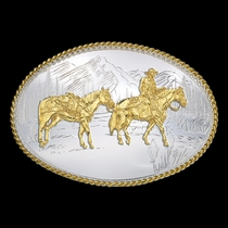 Etched Mountains Western Belt Buckle with Pack Horse and Rider (6250-35)