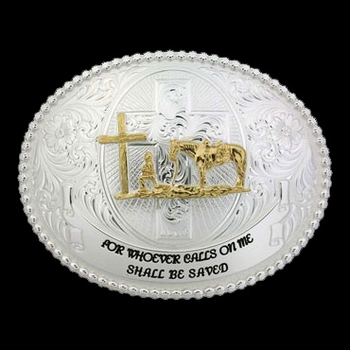 Faith and Wisdom Western Belt Buckle with Christian Cowboy (60889-731-V2-BL)