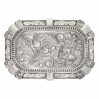 Feather Engraved Flourished Rectangular Classic Attitude Buckle  (A486NF)