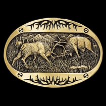 Fighting Elk Brass Heritage Attitude Belt Buckle (60800C)